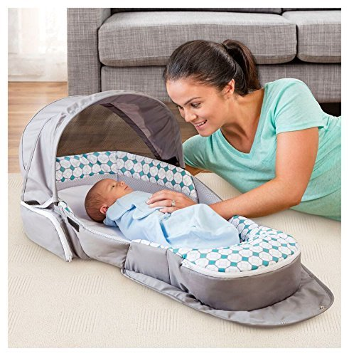 Baby Delight Snuggle Nest Traveler Bl, Diamond Lattice – Gray/Aqua