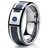 R4U 8mm Blue CZ Black & Blue Carbon Fiber Tungsten Carbide Wedding Band with (7)