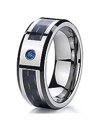 8mm Blue Cubic Zirconia (CZ) Black & Blue Carbon Fiber Tungsten Carbide Wedding Band
