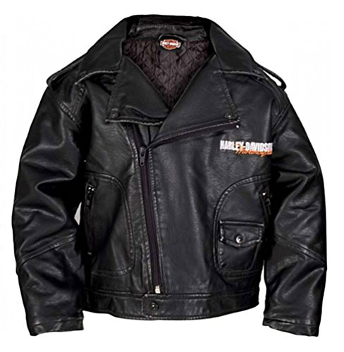 HARLEY-DAVIDSON Little Boys' Upwing Eagle Biker Pleather Jacket Blk 0376074 (2T)
