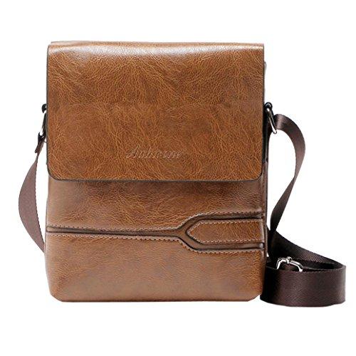 YJYDADA Bag,Vintage Men Pure Color Leather Commerce Crossbody Bags Messenger Shoulder Bag (Khaki)