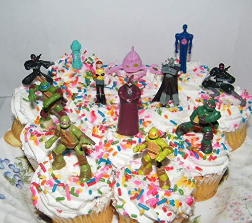 Teenage Mutant Ninja Turtle Deluxe Mini Cake Toppers Cupcake Decorations Set of 12 Figures with the 4 Turtles, Splinter, Ninjas, Shredder and More!