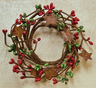 Christmas Mini Wreath - Red & Green Pip Berry Ring Rusty Stars Mini Wreath Country Primitive Christmas Holiday Floral Décor