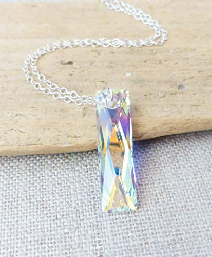 - Swarovski Aurora Borealis Prism Crystal Necklace, Rectangle Column Pendant, Sterling Silver Chain