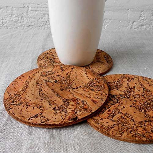 Cork coasters, rustic cork coasters, round coasters, natural cork trivets, set of 4