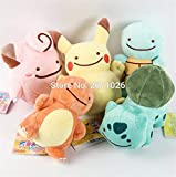PampasSK Stuffed & Plush Animals - 15cm 5pcs/Set Ditto Cosplay Pikachu Charmander Squirtle Bulbasaur Clefairy Plush Toy Animal Stuffed Dolls 1 PCs