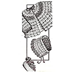 Vintage Crochet PATTERN to make - Shell Stitch Crocheted Sacque Hat Booties Baby Set. NOT a finished item. This is a pattern and/or instructions to make the item only.