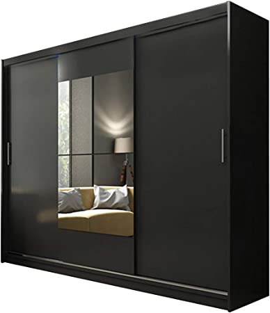 Ye Perfect Choice Brand New Modern Wardrobe Ava 1 Mirror 3 Sliding Doors Bedroom Wardrobe Width 250 Cm Black Without Led Amazon Co Uk Kitchen Home