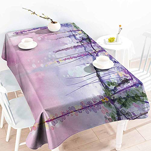 Homrkey Restaurant Tablecloth Watercolor Flower Decor Collection Wisteria Flowers Tree Blurred Design Navy Lilac Aubergine Blue Violet and Durable W60 xL84 -