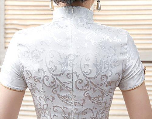 Shanghai Story Women Short Sleeve Chinese Blouse Cheongsam Top S White by Shanghai Story (Image #3)