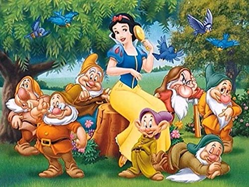 Full Drill Diamond Painting Snow White and The Seven Dwarfs,5D DIY Diamond Embroidery Crystal Rhinestone Cross Stitch Mosaic Paintings Arts Craft for Home Wall Decor(12X16inch/30X40CM) (Snow White And The Seven Dwarfs Painting)