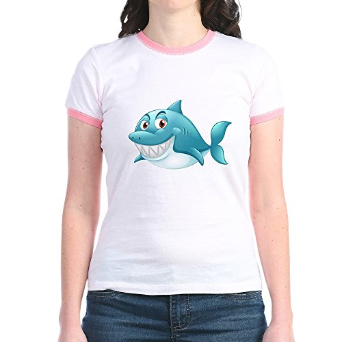 Ringer Fish Kids T-shirt (Truly Teague Jr. Ringer T-Shirt Grinning Blue Shark - Pink/Salmon, Large)