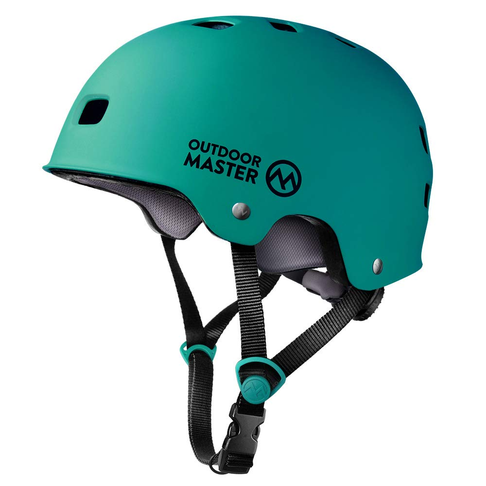 OutdoorMaster Skateboard Helmet - CPSC Certified Lightweight, Low-Profile Skate & freestyle BMX Helmet with Removable Lining - 12 Vents Ventilation System - for Kids, Youth & Adults - L - Sea Green