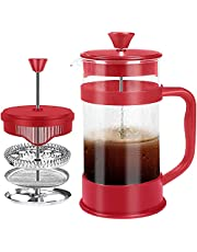 French Coffee Press, Black - 1000 ml / 1 Liter (32 oz) Espresso and Tea maker with triple filters, stainless steel plunger and heat resistant glass - by KICHLY