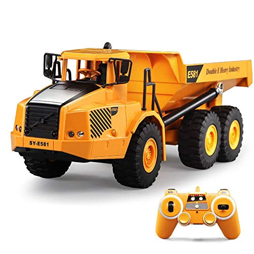 RC Truck, Remote Control Engineering Dump Truck Full Functional Construction Vehicle Toy 2.4GHz Simulation Sound Dump Truck Toy for Kids Toy Car Model