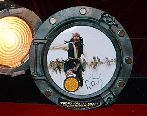 JOHNNY DEPP Signed Autograph Porthole, PIRATES OF CARIBBEAN, Disney SCREEN USED Prop COIN, all 5 movies DVD, UACC, COA, pirate pocket watch