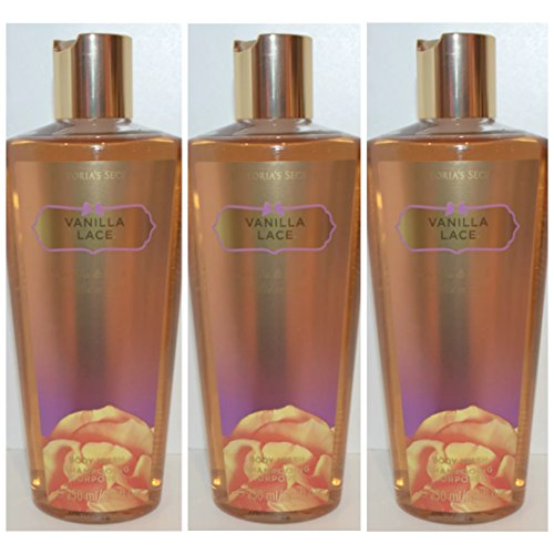Victoria's Secret Fantasies Vanilla Lace Body Wash 8.4 Fl.oz Set of 3 Bottles (Body Vanilla Lace)