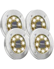 Outdoor Solar Ground Light, 4 Pack Pathway in-Ground Solar Light with 8 LED Waterproof Solar Garden Light for Lawn Yard Driveway Patio Walkway Pool Area