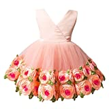 OBEEII Baby Girls Flower Ruffle Layers Princess Dress Toddler Kids Sleeveless Floral Bowknot Dress Cute Tulle Spliced Tutu Skirt Birthday Party Clothes for Newborn Infant 6-12 Months Orange