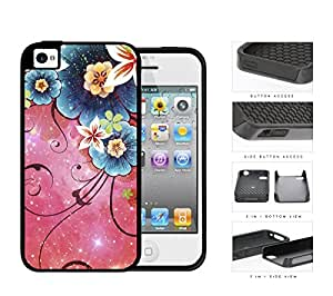 Cool Pink Nebula with Blue Nebula Flowers iPhone 4 4s 2-piece Dual Layer High Impact Black Silicone Cover