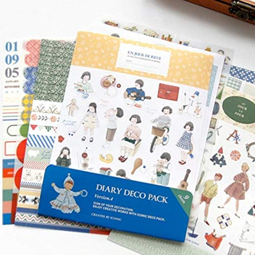 4. Diary Deco Stickers for Notebook foto Frame Album Scrapbooking Bookmarker Stationery Supplies ()