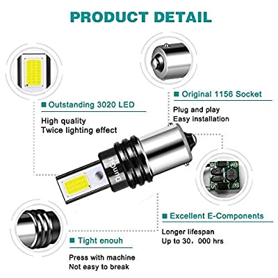 DunGu 1156 LED Bulbs High Power COB 1141 1003 7506 Replacements for Reverse Backup Lights Tractor Headlamp RV White (Pack of 2): Automotive