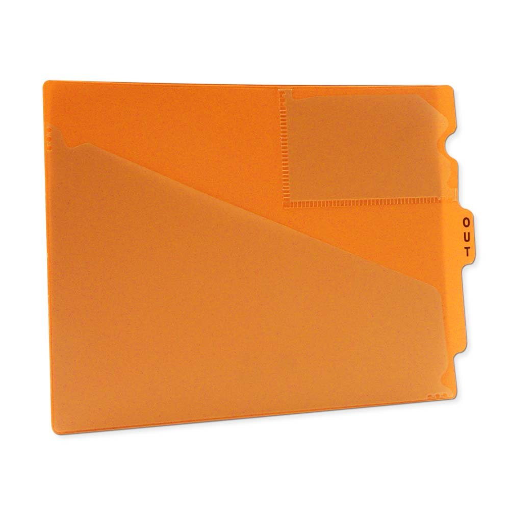 PDC Healthcare FC178OR Outguide, Center Tab, Letter Size, 2 Pockets, Vinyl, 12 7/8'' x 9 1/2'', Orange (Pack of 25)