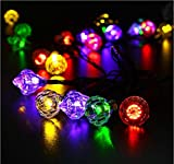 Rextin 20ft 30 LED Diamond Solar String Lights RGB Waterproof Outdoor for Garden Patio Fence Path Landscape Wedding Party Christmas Decoration (RGB)