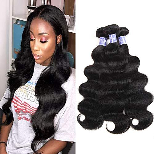 Remy Hair Human (Sayas Hair (12 14 16 inch) Brazilian Virgin Hair Body Wave Remy Human Hair Bundles 100% Unprocessed Human Virgin Hair 3 Bundles 100g/Bundle Natural Color)