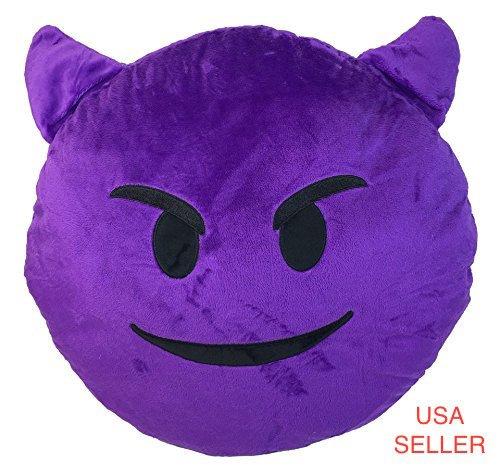 Morado Diablo almohada Emoji Smiley Emoticon amarillo Ronda ...