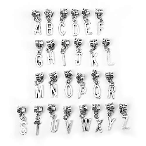 OBSEDE Alphabet Charms Initial Capital Letters Pendant DIY Findings for Jewelry Making Crafting A-Z Set of 2 (52Pcs), Hole 0.2inch/4.8mm, Color Silver