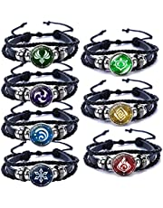 Genshin Impact Bracelet 7 Pcs, Animne Luminous Bracelet, Element Luminous Bracelets Glow in Dark, God's Eye Time Gem Bracelet of Fire, Ice, Wind, Grass, Rock, Thunder, Water