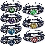 Genshin Impact Bracelet 7 Pcs, Animne Luminous Bracelet, Element Luminous Bracelets Glow in Dark, God's Ey