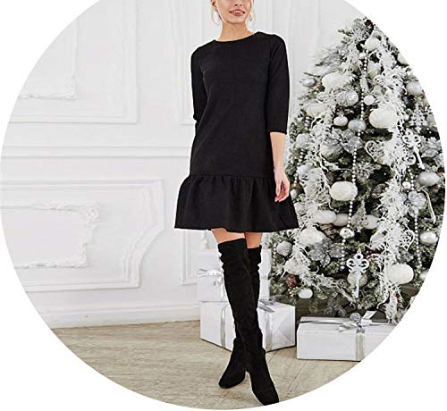- Fall Women Suede Casual Sleeve T Shirt Mini Dress Autumn Winter Vintage Ruffle Dresses,Black,L