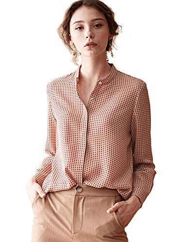ROEYSHOUSE Women'sPolka Dot Long Sleeve Chiffon BlouseButtoned Down Work Shirt with Mandarin Collar M Red