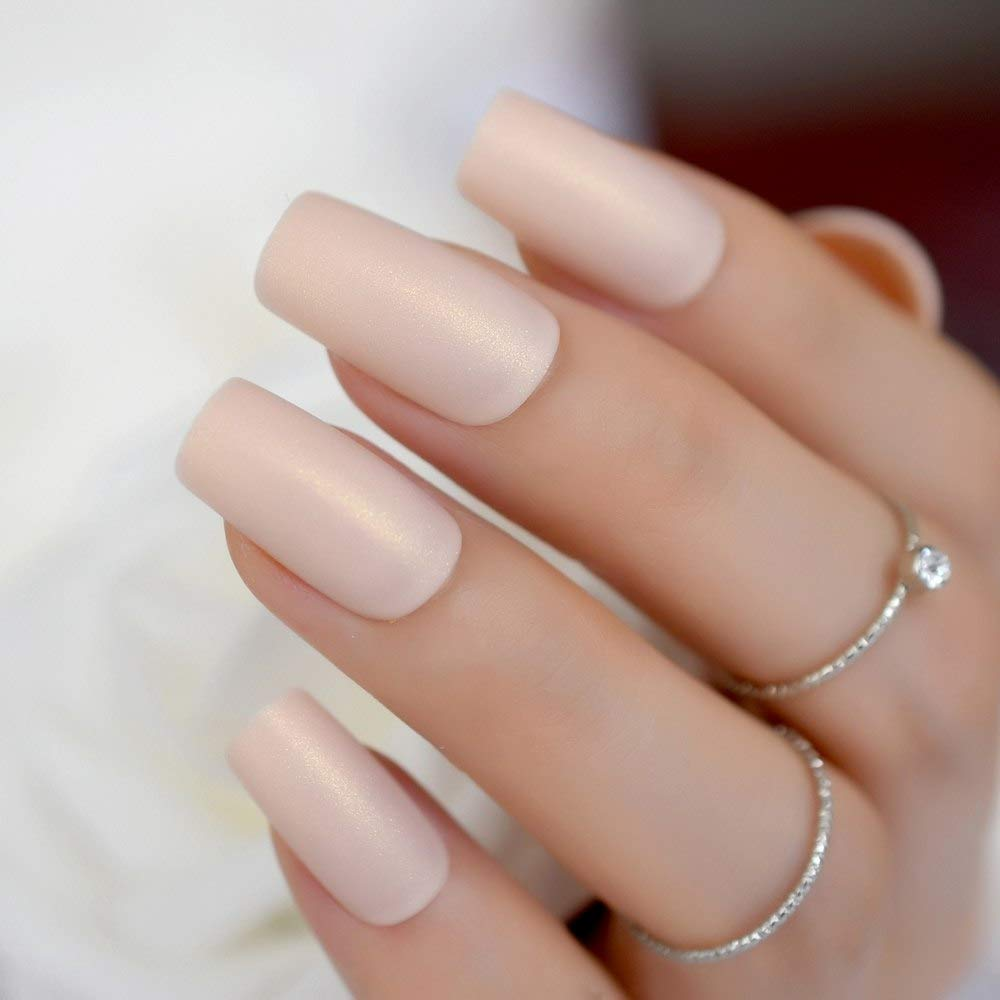 CoolNail Soft Nude Matte False Fake Nail Shimmer Glint Glitter Long Square Frosted Artificial Full Nails