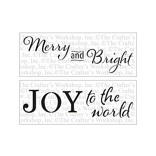 Crafter's Workshop Stencil 2 Pack, Reusable Stenciling Templates for Art Journaling, Mixed Media, and Scrapbooking - Two 16.5 x 6 inch Sheets TCW2183 Merry and Bright & TCW2181JOY to The World (Be Be Bright Merry)