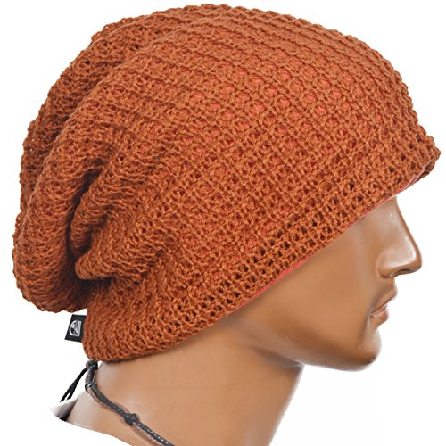 Slouchy Long Oversize Rust Beanie Knit Cap Available in 34 Different Colors and Patterns by FORBUSITE