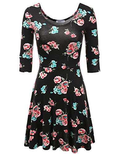 Sleeves Mini Dress Flared - Doublju Solid & Floral Printed 3/4 Sleeve Flared Skater Dress for Women with Plus Size (Made in USA) FLORALMINT Medium