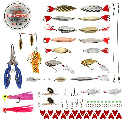 BLISSWILL Fishing Lures Baits Tackle Kit Hard Soft Plastic Fishing Lures Crankbaits Spinnerbaits Jig Head Grub Bait Worms Shrimp with Fishing Tackle Box Fishing Gear Kit (Best Way To Bait A Hook With Shrimp)