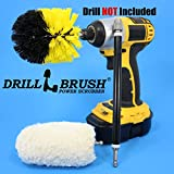 Soft Cotton Buffer and Scrub Brush 3 Piece Drill Powered Quick Change Detailing Kit with Long Reach Extension