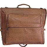 AmeriLeather Leather Three-suit Garment Bag (Brown Pebble)