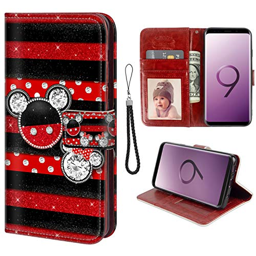 for Samsung Galaxy S9 Wallet Case Mickey Mouse Flip Leather Case with Kickstand PU Leather Stand Folio Cover Case for Samsung Galaxy S9
