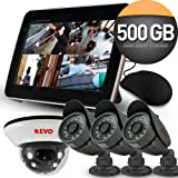 "Revo 4 Channel System with 4 (66ft) Night Vision Security Cameras with All in One DVR w/ 10.5"" Built in Monitor"