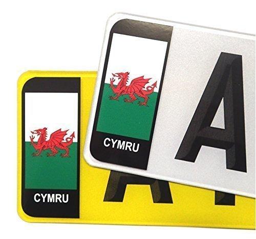 Sticar-it Ltd Pair of Welsh Wales CYMRU Badges for Car or Van to fit Std Size Number Plate vinyl sticker Road legal