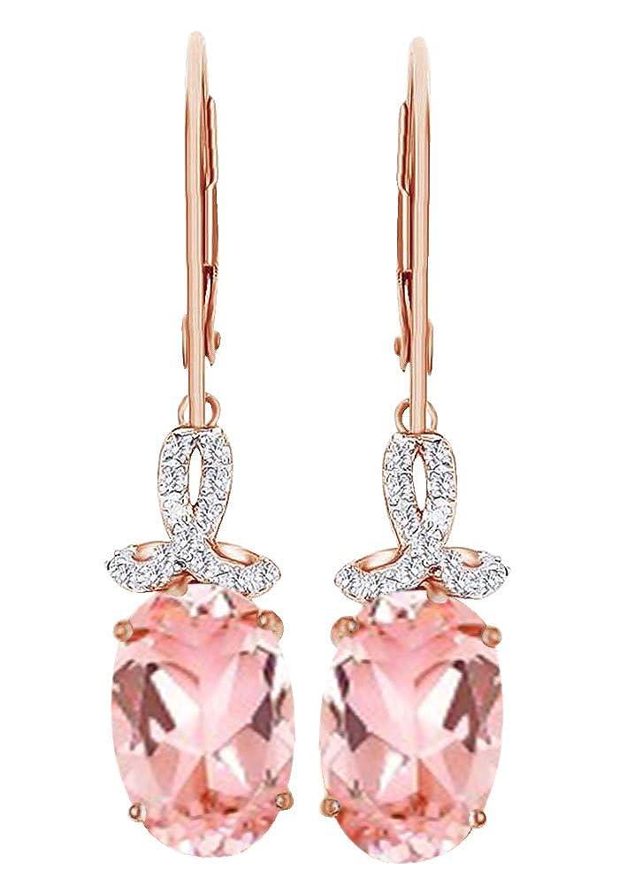 Simuliert Morganit & Weißszlig; natürlicher Diamant Baumeln Ohrringe in 14 ct 585 Massiv Weißszlig; Gold 14 Karat RotGold