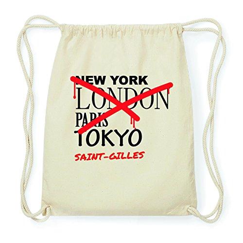 JOllify SAINT-GILLES Hipster Turnbeutel Tasche Rucksack aus Baumwolle - Farbe: natur Design: Grafitti