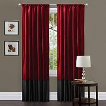 Triangle Home Fashions Lush Decor Milione Fiori Curtain Panel Pair, 84-Inch by 42-Inch, Red/Black