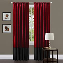 Lush Decor Milione Fiori Curtain Panel Pair, 84-Inch by 42-Inch, Red/Black