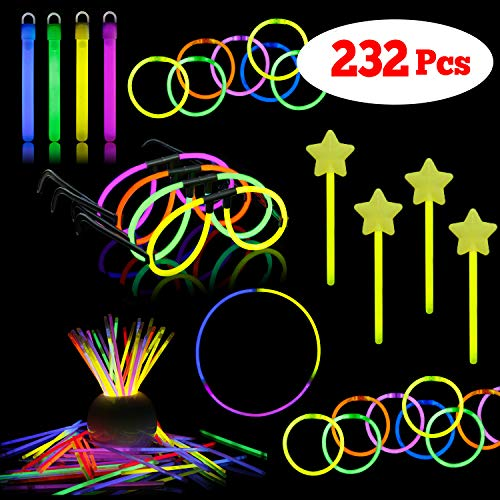 LaRibbons Glow Sticks Bulk for Party, 232Pcs Glow Sticks Assortment Include Bracelets,Necklace,Glasses,Magic Wands and More]()